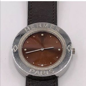 Hermes Passe Passe Red Dial Leather Quartz Watch
